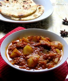 Aloo Masala / Potato Masala (Ammaji Recipes) -- had a really good masala dosa they other day which had cinnamon and star anise, not considered the usual ingredients, in it. This recipe has it but I'm omitting the tomato and adding some mixed veg to get a dry version.