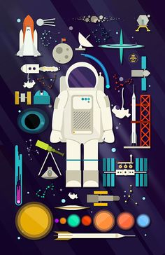 Space Collection | Outer Space Art Print | Astronaut Graphic Decor | Knolling Poster | Space, in its infinite expanse, inspires stargazers the world over to observe, admire, and ponder the countless mysteries of the cosmos. This colorful space collection, laid out in a knolling design art display, assembles over 30 items related to outer space, travel, research, and communication. Show your love of the celestial bodies and astronomy with this colorful, vibrant design. By DaydreamHunter on…