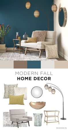 Kohl's Fall is the perfect time for a home refresh…and it's easier than you think! Adding a few new throw pillows, a lamp or even a cozy reading chair for cold nights can make a big difference in your living room. Shop modern fall home decor at Kohl's. Blue Accent Walls, Accent Wall Bedroom, Blue Accents, Accent Walls In Living Room, Turquoise Accent Walls, Fall Home Decor, Bedroom Colors, Bedroom Ideas, Bedroom Inspo