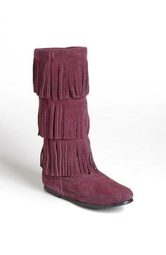 dusty brown suede Minnetonka Fringe Boot available at Moccasin Boots, Suede Boots, Moccasins, Minnetonka Boots, Cute Shoes, Me Too Shoes, Fringe Boots, Cool Boots, Crazy Shoes