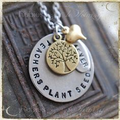 Teachers Plant Seeds Necklace  Gift For teacher by rubiesandwhimsy, $36.00