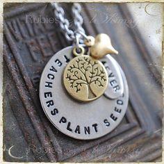 Teachers Plant Seeds Necklace  Gift For teacher by rubiesandwhimsy, $36.00