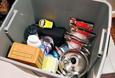 Emergency Preparedness Kit (smart idea to put it in a waterproof bucket)