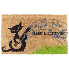 Coir Musical Cat Doormat, Multi