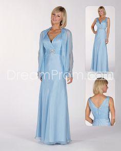 Attractive BeadedA-Line V-Neck Floor-length Mother of the Bride Dresses