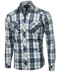 Men's Long Sleeve Western Casual Button Down Shirt