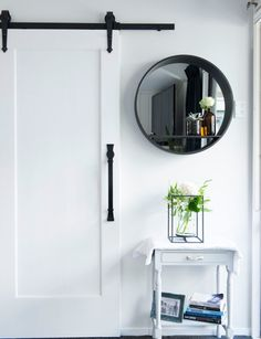 A tired interior gets a modern monochrome makeover - March 02 2019 at Wooden Barn Doors, Glass Barn Doors, Farmhouse Interior, Interior Barn Doors, Modern Farmhouse, Sliding Partition Doors, Kylie M, Barn Style Doors, Traditional Doors