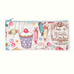 Cute Pencil Case Zipper Pouch French Cafe Ice Cream Candy Cakes Sweets - You Choose. $8.00, via Etsy.