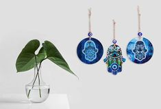 How to Set Up a Home Office in a Pinch – Alef Bet Jewelry by Paula Housewarming Present, Evil Eye Jewelry, Hamsa Hand, Hanging Ornaments, Shades Of Blue, Wall Art Decor, House Warming, Abundance, Color Blue