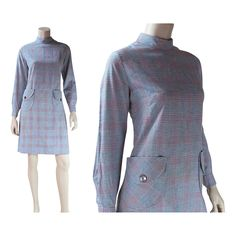 1960's Mod Cotton Blend Plaid Dress