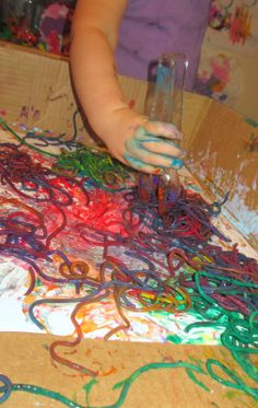 Painting with noodles- SO FUN! { I can't wait to try this the next time we have a bit of left over noodles}