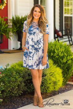 Delightfully In Love Tie Dye Dress - Navy