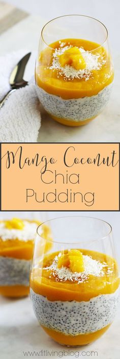 Take your taste buds on a tropical getaway with this Mango Coconut Chia Pudding! A great dessert, snack, or even breakfast, this chia seed pudding is bursting with nutrients and flavor. Mango Chia Pudding, Vegan Pudding, Coconut Chia Pudding, Pudding Recipes, Protien Pudding, Pudding Corn, Suet Pudding, Biscuit Pudding, Figgy Pudding