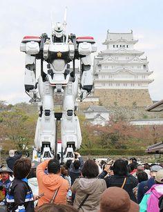 パトレイバー世界文化遺産・姫路城前で交通安全呼びかけ