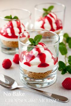 No Bake Cheesecake Mousse with Raspberry Sauce. Perfect for Valentine's Day or just any day of the week!