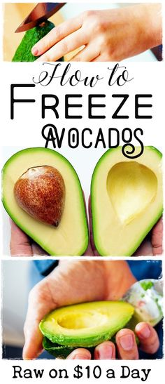 Freezing avocados to preserve them for later is quick and easy and can help you save both time and money, especially if you enjoy raw or vegan food! Vegan Foods, Vegan Dishes, Tasty Dishes, Raw Dessert Recipes, Raw Food Recipes, Cooking Recipes, Dairy Free Recipes, Vegan Recipes Easy, Gluten Free
