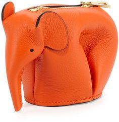 Loewe Elephant Leather Coin Case, Orange