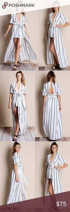 """Homage Striped Maxi Romper Dress White maxi romper dress with black stripes. Junior sizing. Brand new with tags. This is an ACTUAL PIC of the item - all photography done personally by me or is an official brand collaboration. Model is 5'8"""", 34""""-25""""-35"""". NO TRADES DO NOT BOTHER ASKING. PRICE FIRM. Bare Anthology Dresses Maxi"""