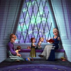 Anna taking care of her niece Beatrice while Elsa reads a story to her daughter Katin and her niece Ashlyn. Disney And Dreamworks, Disney Pixar, Walt Disney, Disney Characters, Disney Movies To Watch, Best Disney Movies, Frozen Disney, Disney Nerd, Cute Disney