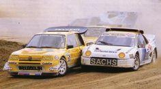 Rallycross - ford Martin Schanke and I think the Peugeot is Guy Freklund Ford Rs, Rally Raid, Peugeot 205, Race Cars, Classic Cars, Automobile, Motorcycles, Racing, Hot Rods