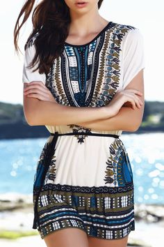 $9.09 Vintage Style Scoop Neck Batwing Sleeve Loose-Fitting Ethnic Print Dress For Women