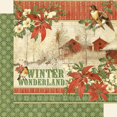 Graphic 45 - Winter Wonderland 12 x 12 Scrapbook Paper - Winter Wonderland Double-sided sheet cover-weight. Acid and lignin free. Christmas Scrapbook Paper, Scrapbook Paper Crafts, Scrapbooking Ideas, Decoupage Vintage, Vintage Paper, Vintage Cards, Card Making Designs, Art File, Graphic 45