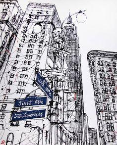 New york line drawing, paul kenton urban sketching en 2019 art drawings, dr Ink Drawings, Drawing Sketches, Dress Sketches, Sketch Art, Drawing Tips, Paul Kenton, L Wallpaper, A Level Art, Urban Sketchers