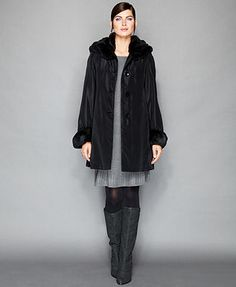 The Fur Vault Sheared Rabbit-Fur-Lined Hooded Coat