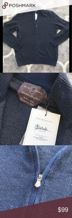 Made in Italy 💯 Merino Wool sweater Navy M NWT Black Brown 1826. Very luxury! Black Brown 1826 Sweaters Zip Up
