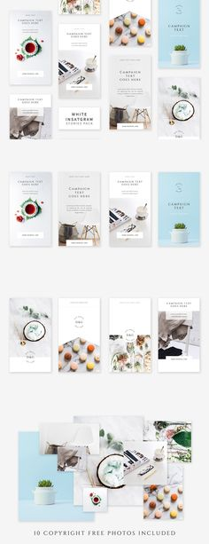 White Instagram Stories Pack Templates PSD