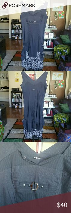 """Bai Amour peasant dress I'm obsessed with the Parisian style! This pin-striped, faux-layered peasant dress is so fun and hip! The cute little details on this dress are too many to list, so I hope the photos do it justice! Relaxed, dress is 35"""" full length, 17"""" armpit-armpit, 14"""" waist. Pin stripe material is cotton/polyamide/elastane/polyester, so very stretchy. Flower print is polyester/viscose. Dress size says 2, but this will fit S and M, please read measurements before asking or buying…"""