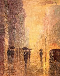 Rainy Night Street Scene - circa 1925 | Frank Coburn, 1862-1938