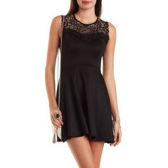 Charlotte Russe Embroidered Lace Yoke Skater Dress