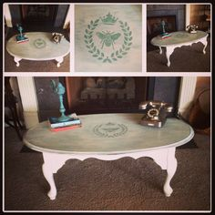 Oval Coffee Table w Queen Anne LegsCeCe Caldwell Vermont Slate