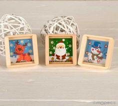 Regalos para niños: original juego habilidad en madera bolitas metal, con motivos navideños.