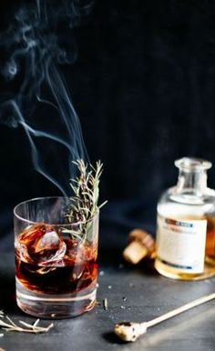 A splash of absinthe infused with the flavor of smoked rosemary, evokes the ultimate haunted essence.