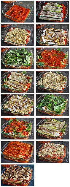 "Lasagna-Layers by CleanGreenSimple, via Flickr. eggplant, zuchinni lasagna with tofu and cauliflower ""ricotta"". Vegan & gluten free. healthy nom to the max"