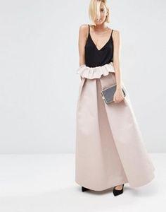 5827914fa3a0 ASOS WHITE Textured Bonded Satin Skirt With Frill Detail Trama Bianca, Abiti  Per Grande Occasione