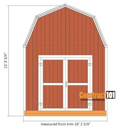 shed plans -gambrel shed - front view 10x10 Shed Plans, Shed Floor Plans, Shed House Plans, Lean To Shed Plans, Wood Shed Plans, Free Shed Plans, Barn Plans, Garage Plans, Diy Storage Shed Plans