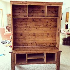 Check out this project on RYOBI Nation - Was inspired to build the entertainment center for my brother and sisters house because they were using a small end table that did not fit in with the rest of the room.  This was built to match their coffee table as well as an end table.  Most challenging part of this project was working in my garage during a cold Wisconsin winter!