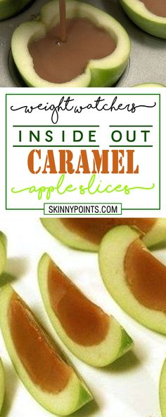 INSIDE OUT CARAMEL APPLES SLICES is part of Caramel apple slices - 4 inch thickness Squeeze the juice from the lemon onto the apples and allow to set (This will keep them from Ww Desserts, Weight Watchers Desserts, Delicious Desserts, Yummy Food, Weight Watchers Apple Recipes, Caramel Apple Slices, Caramel Apples, Caramel Apple Recipes, Baked Apple Slices