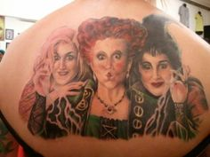 This is the beginning of my Disney Villians full back piece. This is the Sanderson sisters from Hocus Pocus. This is only the very beginning and this picture taken was when it was about 15 minutes from finishing this part. I'm still going to get the Evil Queen from Snow White,  Maleficent, and Ursula, and above will be Maleficent's castle.   Done by Sarah Miller, Jesters Court, Pittsburgh PA