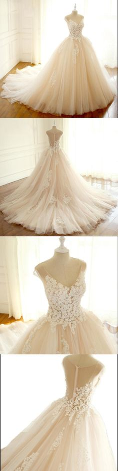 Long Elegant Formal V Neck Wedding Dresses, Asymmetric Back Lace Appliques with Zipper back Bridal Gown , WD0275 #sposabridal #weddingdresses