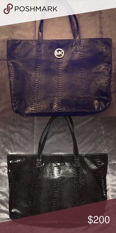 Michael Kors huge purse embossed black Gorgeous Michael Kors bag! Embossed leather.  Sad to see it go, but you will be happy if you purchase this amazing purse. Michael Kors Bags