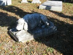 According to local legend, this monument in the Simms plot at Greenwood Cemetery (Jackson, Mississippi) is a memorial to the family's beloved dog, who is said to have spent every day lying on the grave of his young mistress from when she died until his own death.