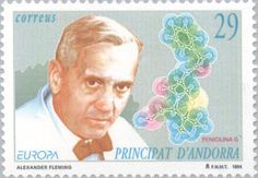 Stamp: C.- Discoveries and inventions (Andorra, Spanish Administration) (Europa (C.) 1994 - Discovery and Inventions) Mi:AD-ES 242 Alexander Fleming, Andorra, Nobel Prize Winners, Stamp Collecting, Postage Stamps, Famous People, Discovery, Spanish, Baseball Cards