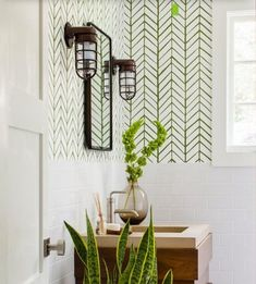 A Grout of a Different Color – Reveal Studio. Color grout is trending, and we are showing you different ways to incorporate it into your home. We love this green grout paired with the white chevron tile in this bathroom. White Bathroom Tiles, White Tiles, Bathroom Colors, Chevron Tile, Herringbone Tile, Interior Design Tips, Interior Design Inspiration, Interior Decorating, Glitter Grout