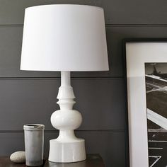 Turned table lamp. This could easily be DIYed into something more exciting, but I love its structure. #west elm $149
