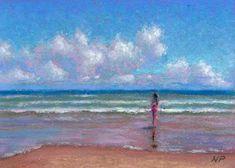 Pastel Painting: Beach Girl Mini Pastel Seascape by Poucher