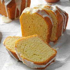 Lemon Pound Cake Loaves Recipe -My family always asks for this love-me-tender loaf cake. Sometimes, I shake things up and make cupcakes with the batter. So awesome for brunch! —Lola Baxter, Winnebago, Minnesota